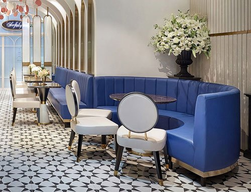 Blue Leather Sofa Booths